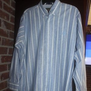 Chaps Ralph Lauren blue white stripe shirt 32/33